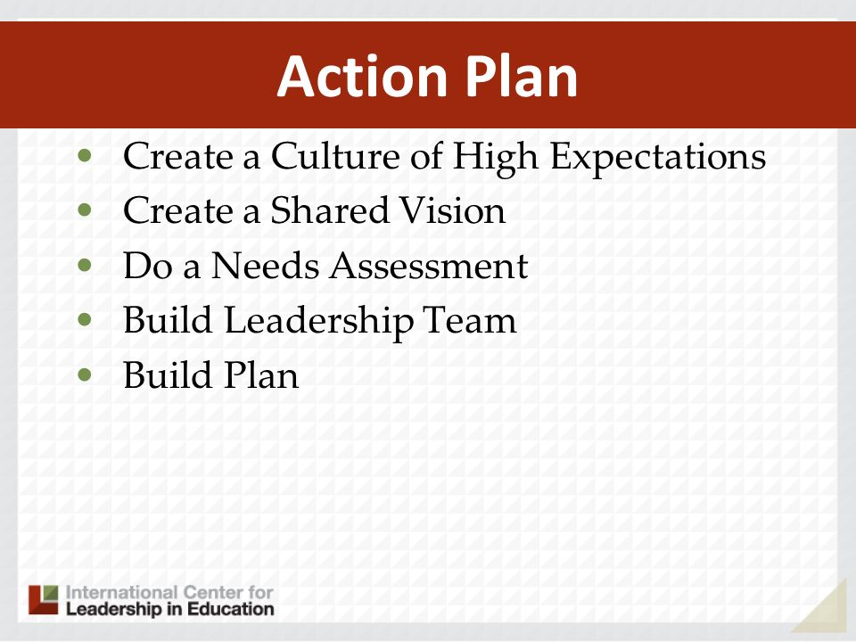 Action Plan Create a Culture of High Expectations Create a Shared Vision Do a Needs Assessment Build Leadership Team Build Plan