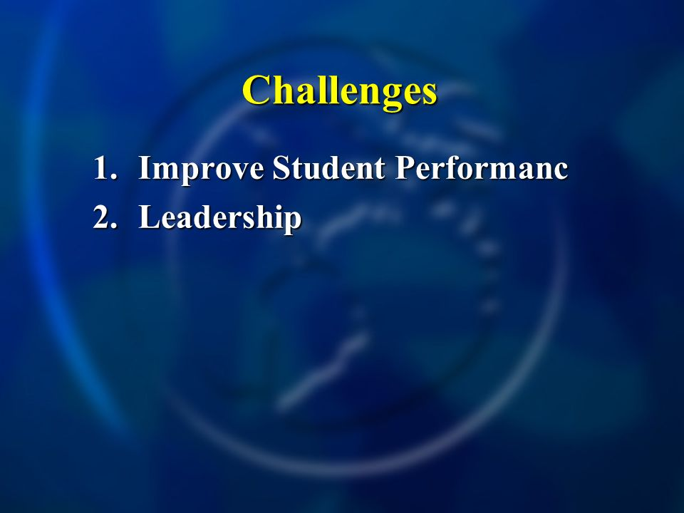 Challenges 1.Improve Student Performanc 2.Leadership