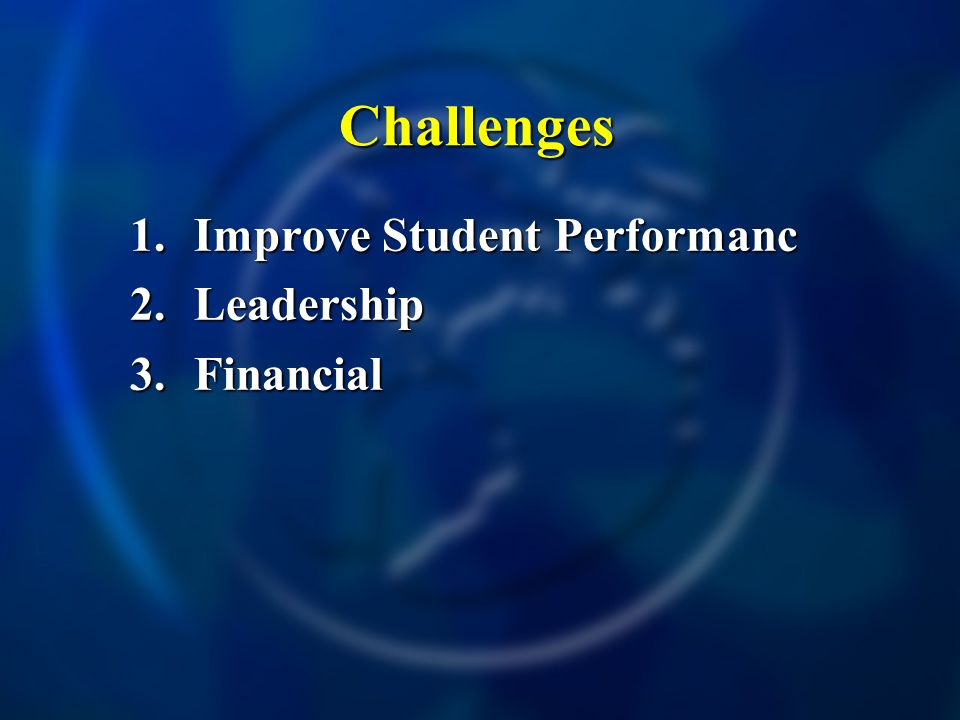 Challenges 1.Improve Student Performanc 2.Leadership 3.Financial
