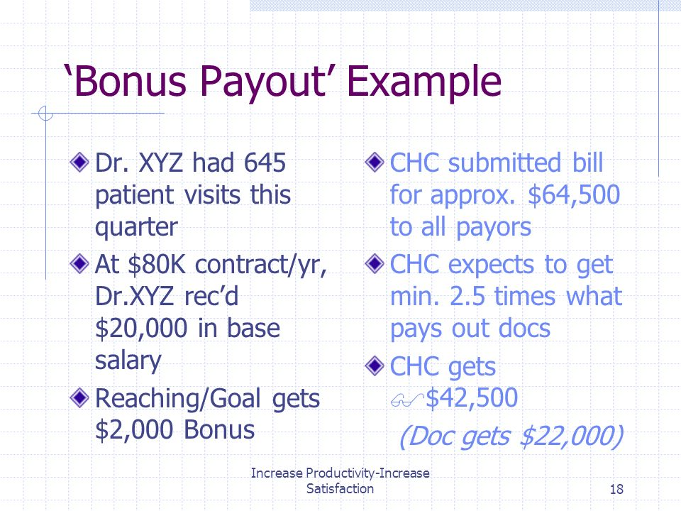 Increase Productivity-Increase Satisfaction18 Bonus Payout Example Dr.