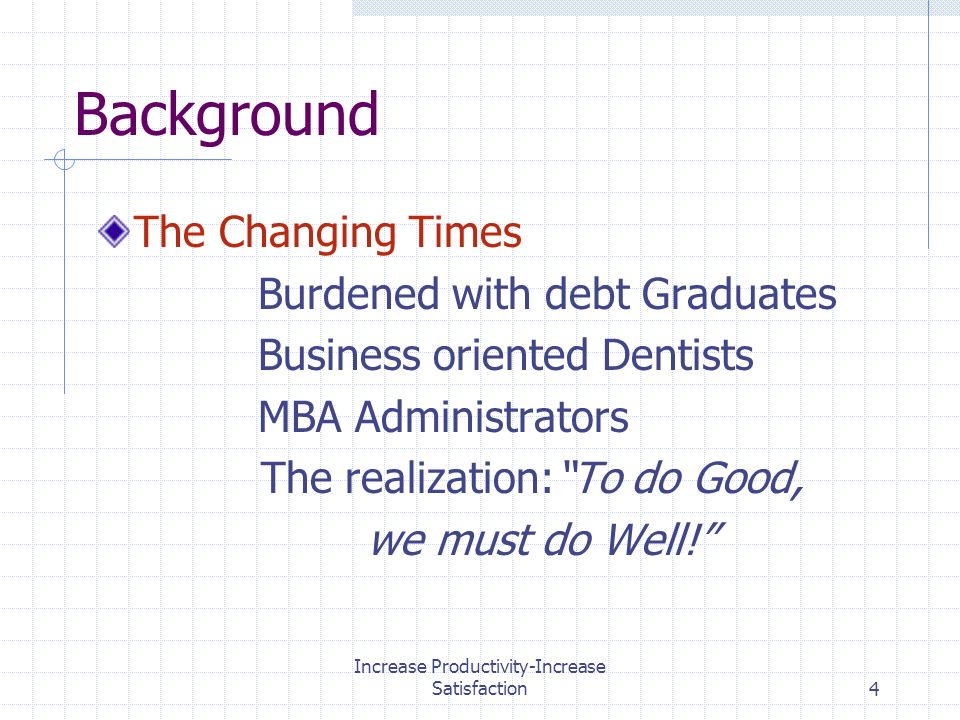 Increase Productivity-Increase Satisfaction4 Background The Changing Times Burdened with debt Graduates Business oriented Dentists MBA Administrators The realization:To do Good, we must do Well!