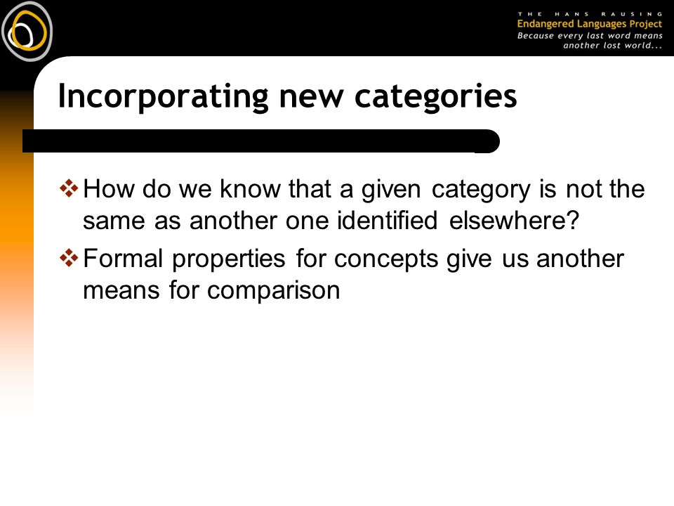 Incorporating new categories How do we know that a given category is not the same as another one identified elsewhere.