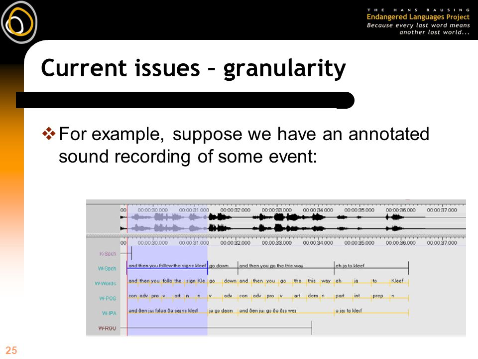 25 Current issues – granularity For example, suppose we have an annotated sound recording of some event: