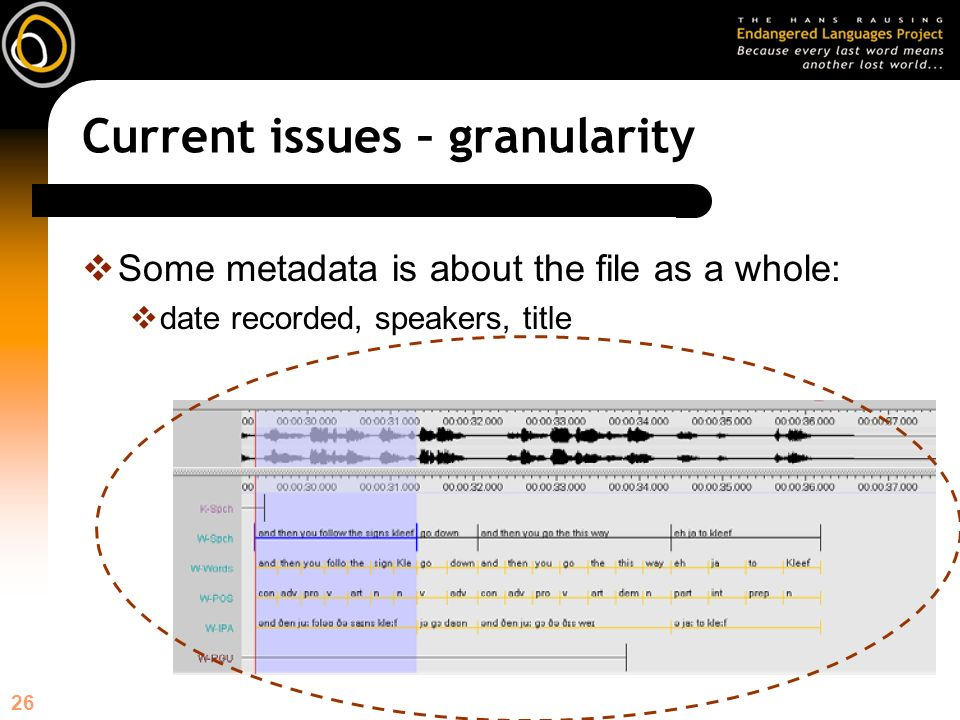 26 Current issues – granularity Some metadata is about the file as a whole: date recorded, speakers, title