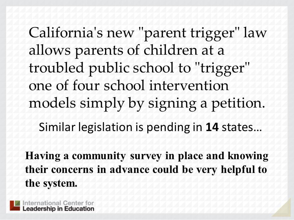 California s new parent trigger law allows parents of children at a troubled public school to trigger one of four school intervention models simply by signing a petition.