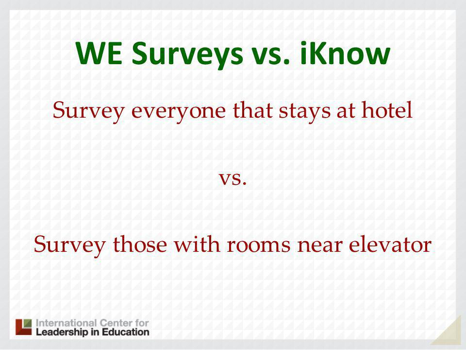 WE Surveys vs. iKnow Survey everyone that stays at hotel vs. Survey those with rooms near elevator