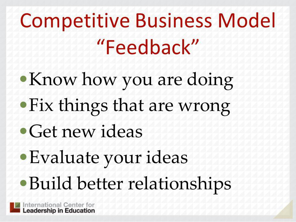 Competitive Business Model Feedback Know how you are doing Fix things that are wrong Get new ideas Evaluate your ideas Build better relationships