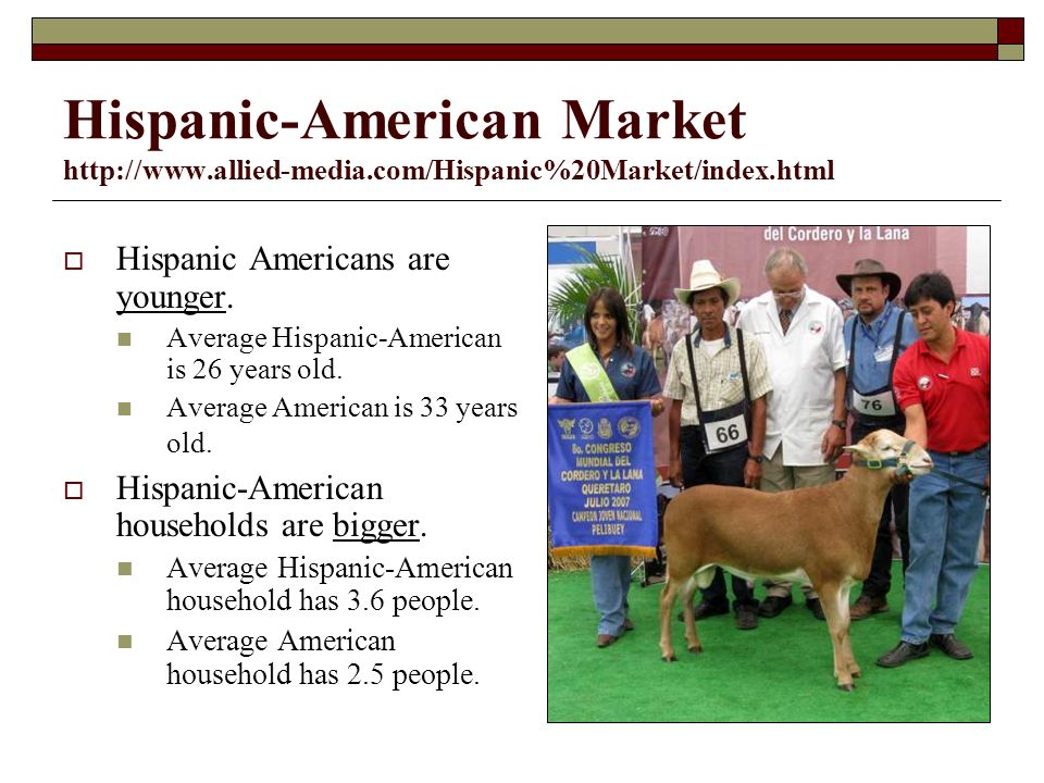 Hispanic-American Market   Hispanic Americans are younger.