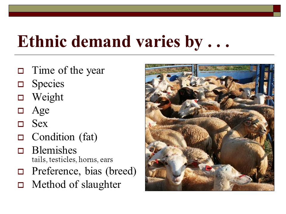 Ethnic demand varies by...