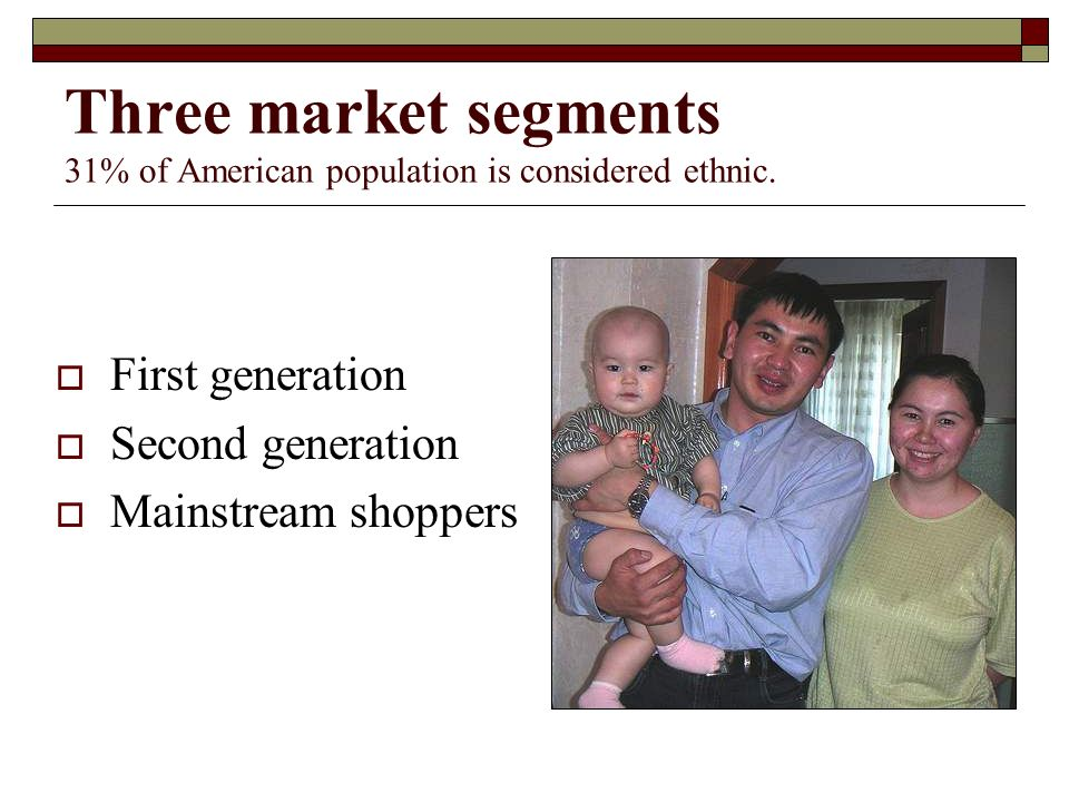 Three market segments 31% of American population is considered ethnic.