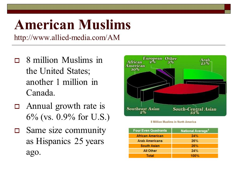 American Muslims   8 million Muslims in the United States; another 1 million in Canada.