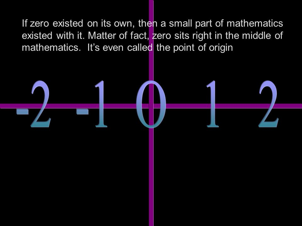 If zero existed on its own, then a small part of mathematics existed with it.