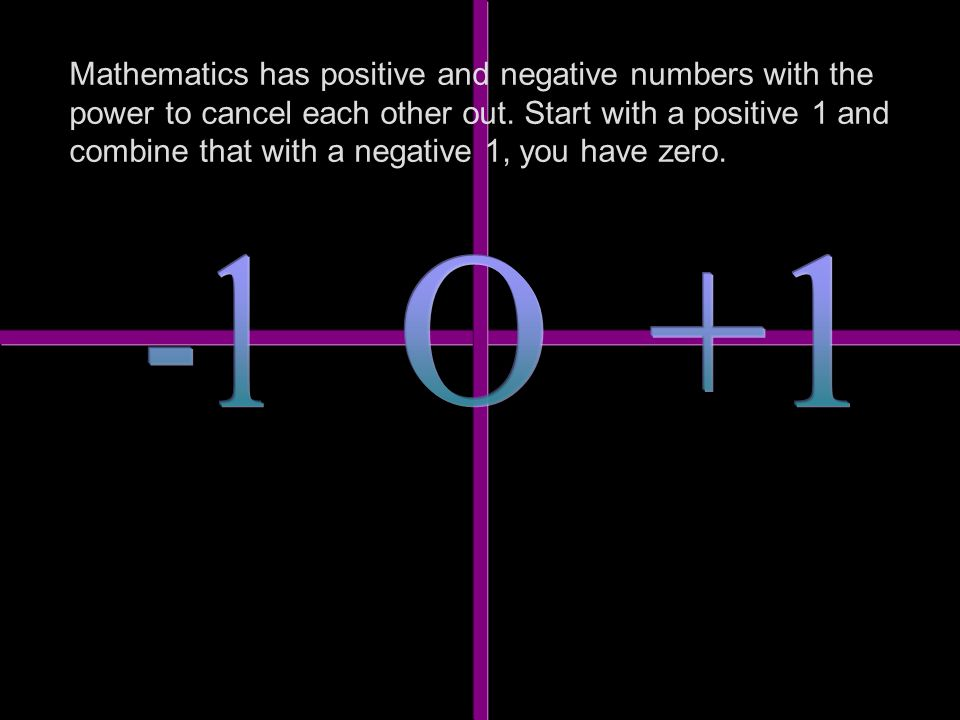 Mathematics has positive and negative numbers with the power to cancel each other out.