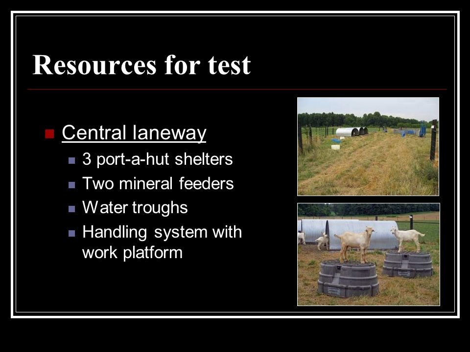 Resources for test Central laneway 3 port-a-hut shelters Two mineral feeders Water troughs Handling system with work platform