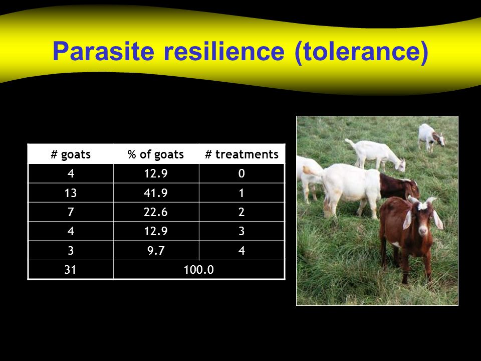 Parasite resilience (tolerance) # goats% of goats# treatments