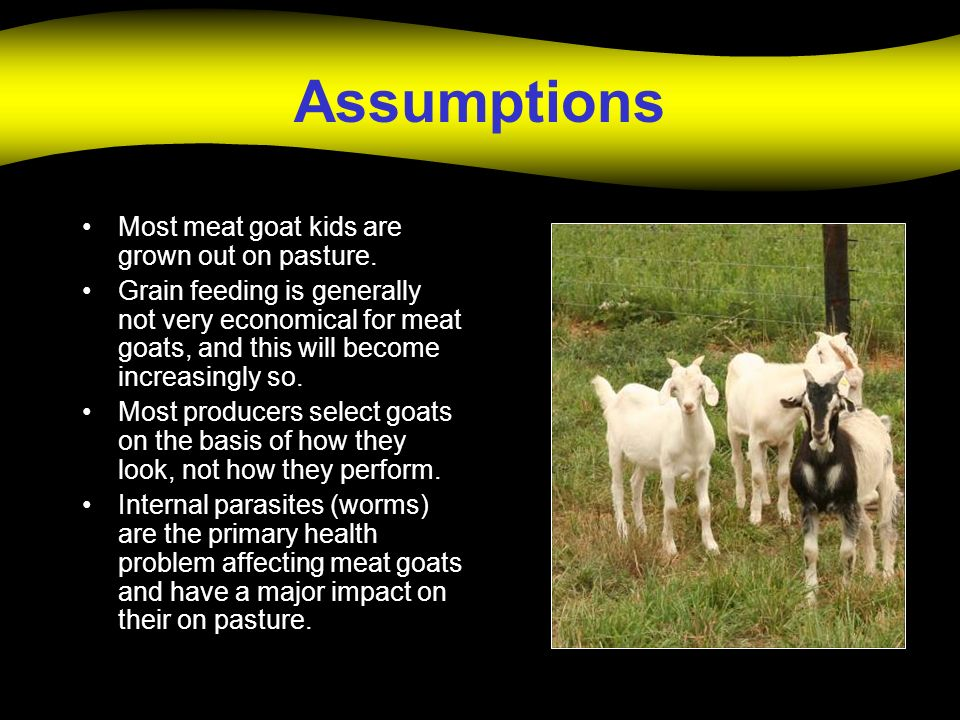 Assumptions Most meat goat kids are grown out on pasture.