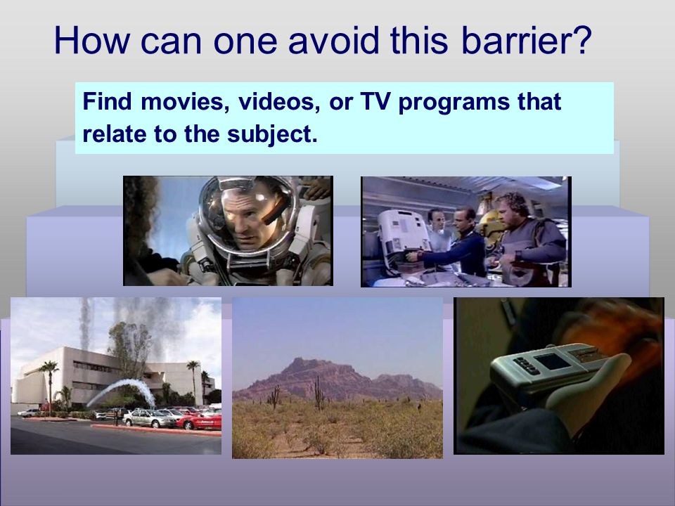 How can one avoid this barrier Find movies, videos, or TV programs that relate to the subject.