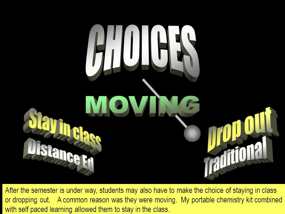 After the semester is under way, students may also have to make the choice of staying in class or dropping out.