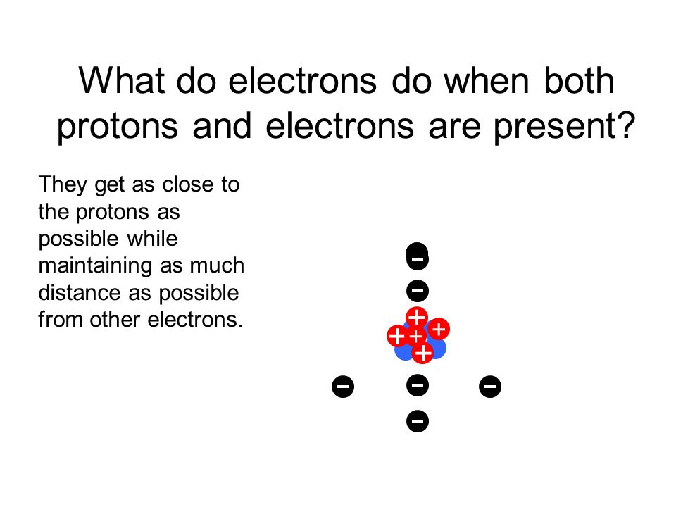 ` What do electrons do when both protons and electrons are present.
