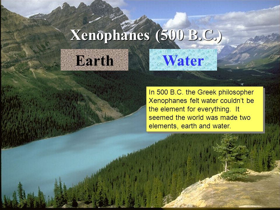 Xenophanes (500 B.C.) EarthWater In 500 B.C.
