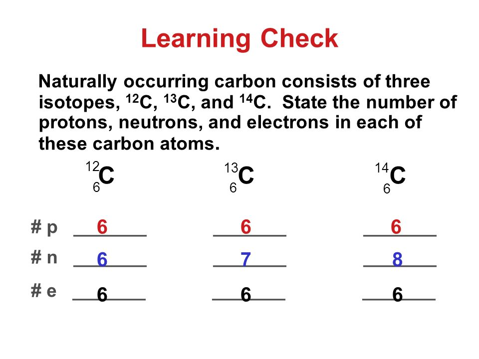 Learning Check Naturally occurring carbon consists of three isotopes, 12 C, 13 C, and 14 C.