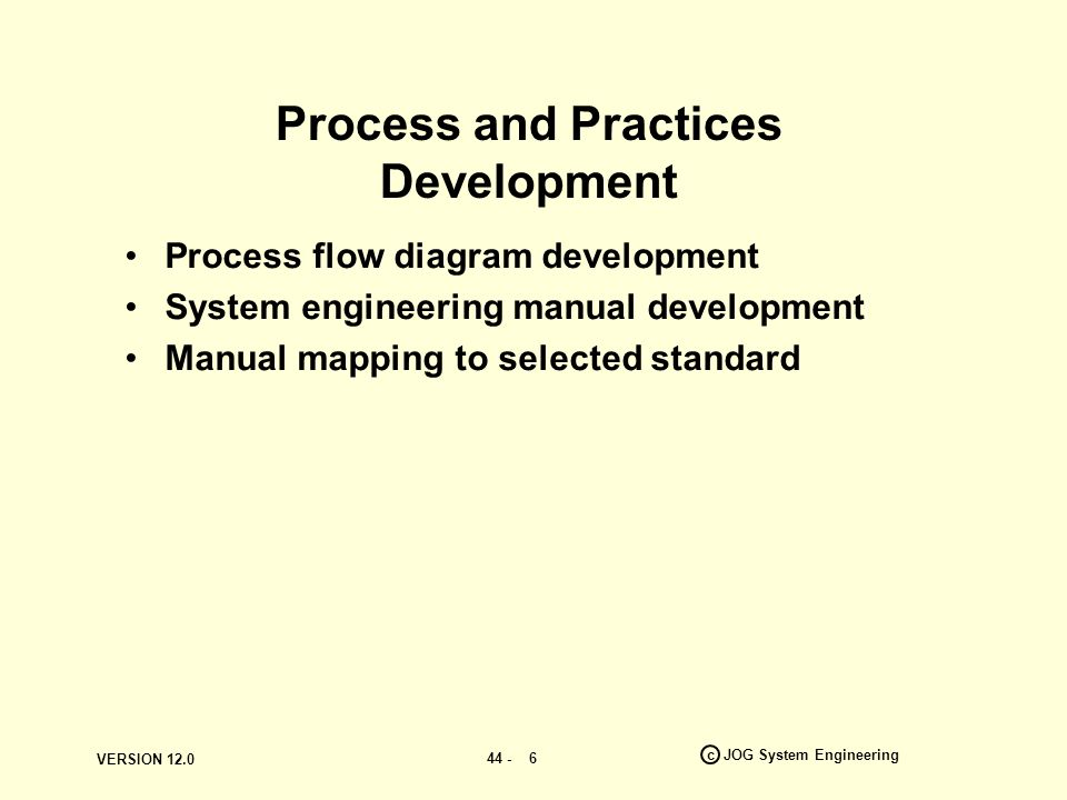 VERSION c JOG System Engineering 6 Process and Practices Development Process flow diagram development System engineering manual development Manual mapping to selected standard