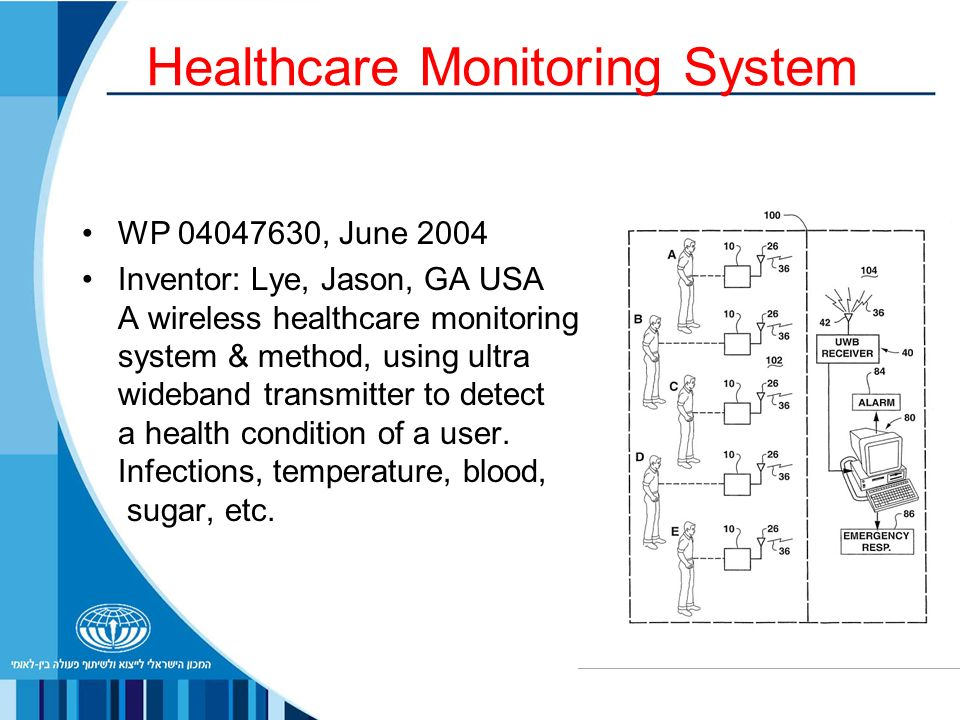 Healthcare Monitoring System WP , June 2004 Inventor: Lye, Jason, GA USA A wireless healthcare monitoring system & method, using ultra wideband transmitter to detect a health condition of a user.