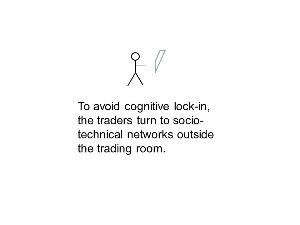 To avoid cognitive lock-in, the traders turn to socio- technical networks outside the trading room.