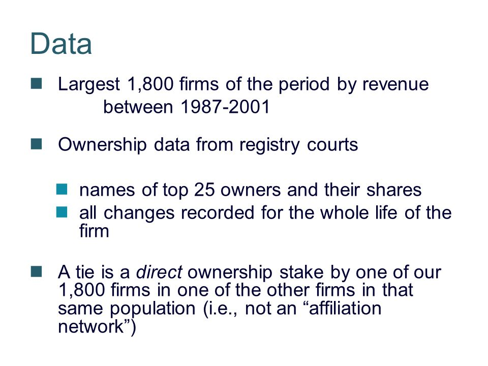 Data Largest 1,800 firms of the period by revenue between Ownership data from registry courts names of top 25 owners and their shares all changes recorded for the whole life of the firm A tie is a direct ownership stake by one of our 1,800 firms in one of the other firms in that same population (i.e., not an affiliation network)