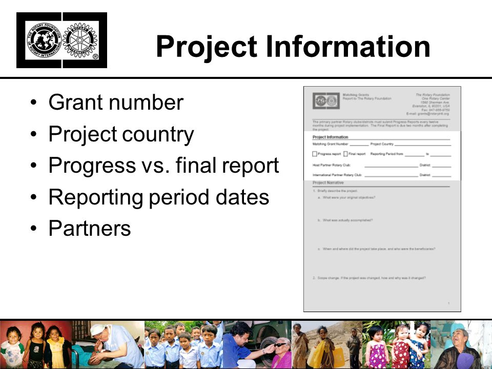 Project Information Grant number Project country Progress vs.