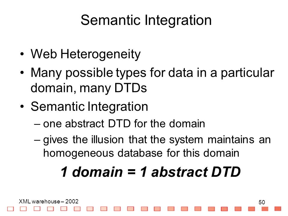 50 XML warehouse – Semantic Integration Web Heterogeneity Many possible types for data in a particular domain, many DTDs Semantic Integration –one abstract DTD for the domain –gives the illusion that the system maintains an homogeneous database for this domain 1 domain = 1 abstract DTD