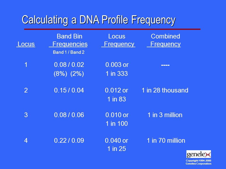 Copyright Genelex Corporation Calculating a DNA Profile Frequency Band BinLocusCombined LocusFrequenciesFrequency Band 1 / Band / or---- (8%) (2%)1 in / or1 in 28 thousand 1 in / or1 in 3 million 1 in / or1 in 70 million 1 in 25