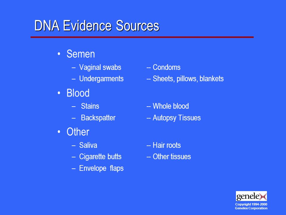 Copyright Genelex Corporation DNA Evidence Sources Semen –Vaginal swabs -- Condoms –Undergarments -- Sheets, pillows, blankets Blood – Stains -- Whole blood – Backspatter -- Autopsy Tissues Other –Saliva -- Hair roots –Cigarette butts -- Other tissues –Envelope flaps