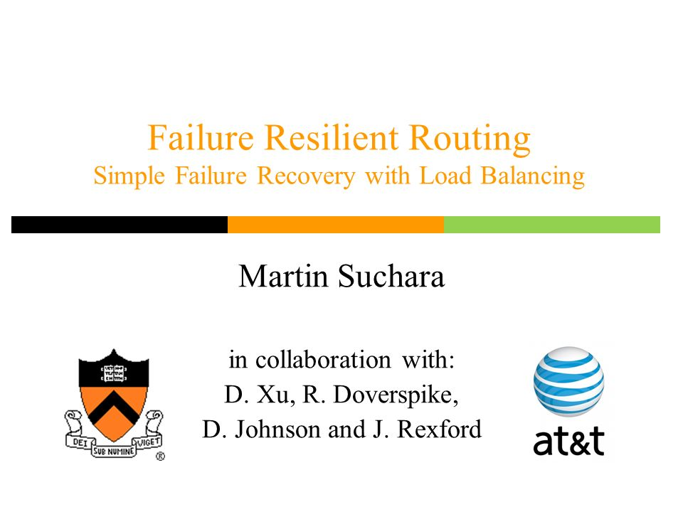 Failure Resilient Routing Simple Failure Recovery with Load Balancing Martin Suchara in collaboration with: D.