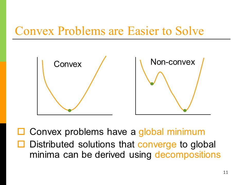 11 Convex Problems are Easier to Solve Convex Non-convex Convex problems have a global minimum Distributed solutions that converge to global minima can be derived using decompositions