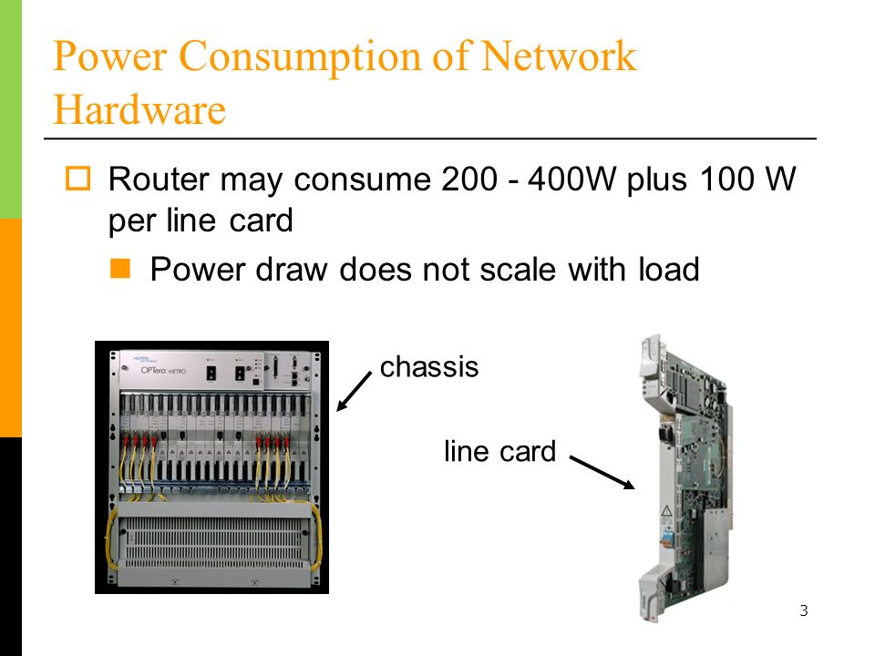 Power Consumption of Network Hardware Router may consume W plus 100 W per line card Power draw does not scale with load chassis line card 3