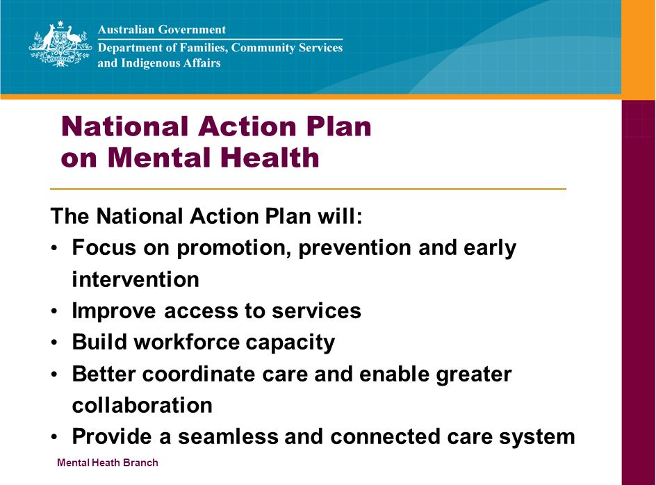 Mental Heath Branch National Action Plan on Mental Health The National Action Plan will: Focus on promotion, prevention and early intervention Improve access to services Build workforce capacity Better coordinate care and enable greater collaboration Provide a seamless and connected care system
