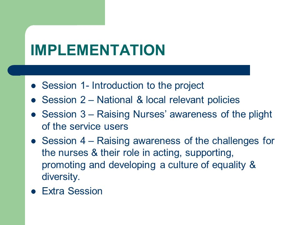 IMPLEMENTATION Session 1- Introduction to the project Session 2 – National & local relevant policies Session 3 – Raising Nurses awareness of the plight of the service users Session 4 – Raising awareness of the challenges for the nurses & their role in acting, supporting, promoting and developing a culture of equality & diversity.