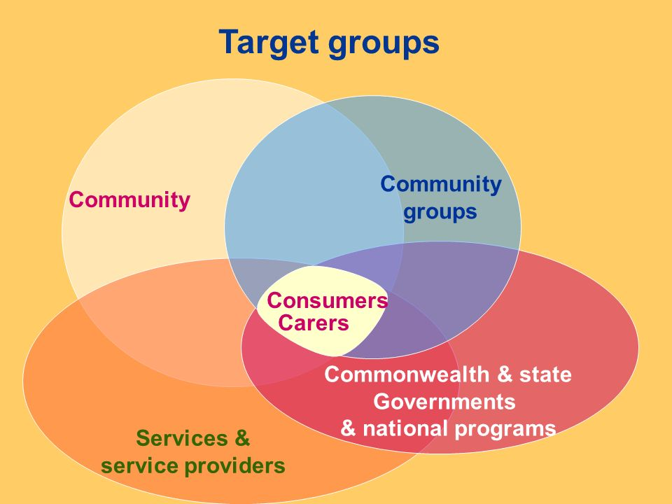 Community Services & service providers Commonwealth & state Governments & national programs Target groups Community groups Consumers Carers