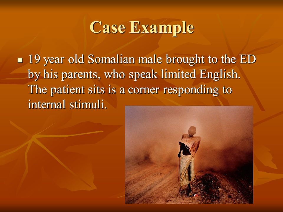 Case Example 19 year old Somalian male brought to the ED by his parents, who speak limited English.