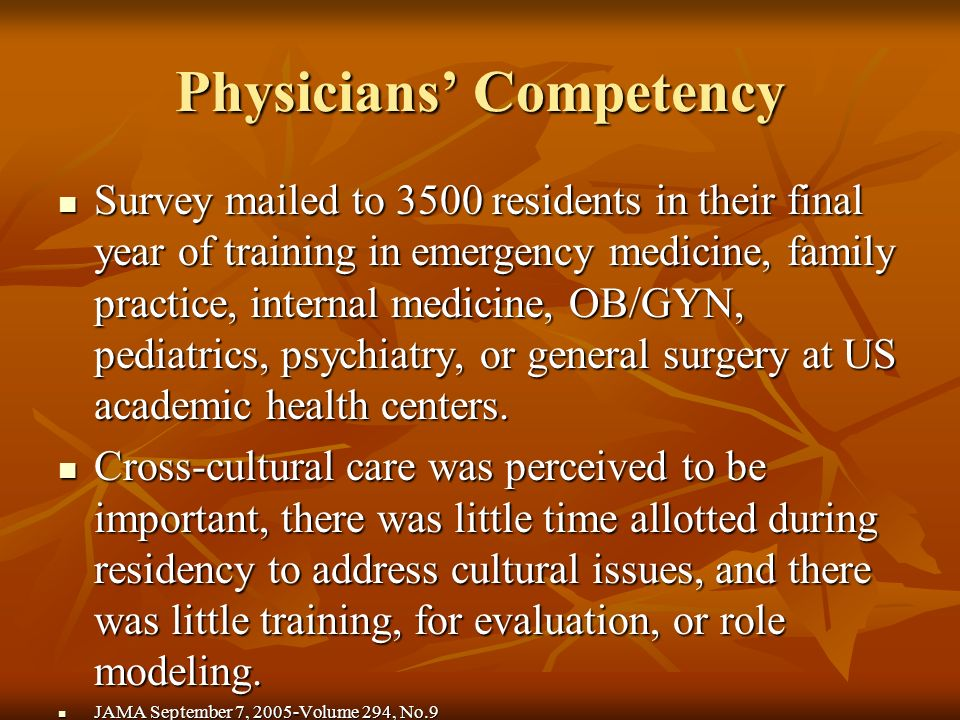 Physicians Competency Survey mailed to 3500 residents in their final year of training in emergency medicine, family practice, internal medicine, OB/GYN, pediatrics, psychiatry, or general surgery at US academic health centers.