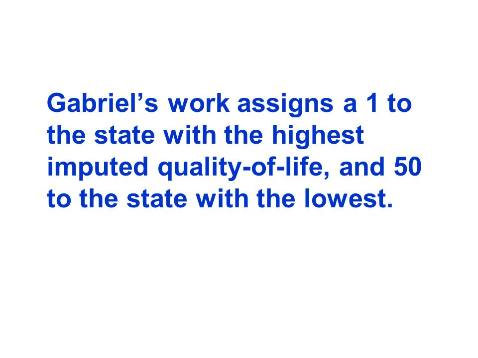 Gabriels work assigns a 1 to the state with the highest imputed quality-of-life, and 50 to the state with the lowest.