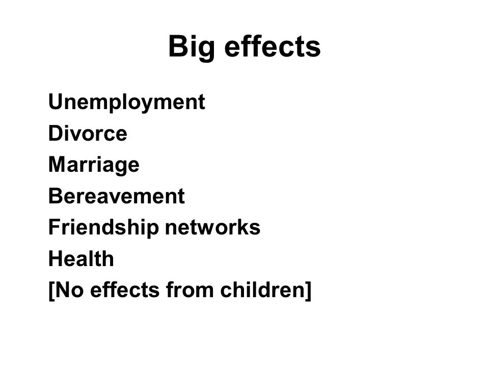 Big effects Unemployment Divorce Marriage Bereavement Friendship networks Health [No effects from children]