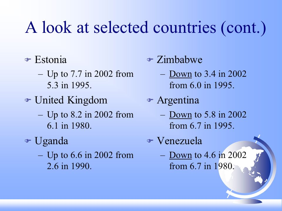 A look at selected countries (cont.) F Estonia –Up to 7.7 in 2002 from 5.3 in 1995.