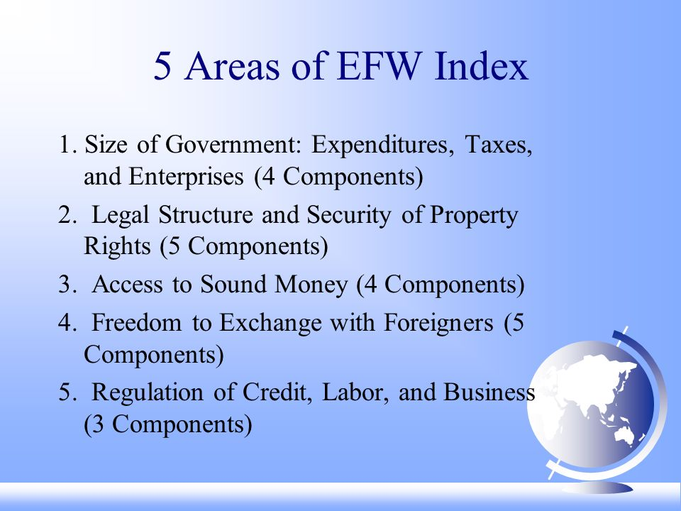 5 Areas of EFW Index 1. Size of Government: Expenditures, Taxes, and Enterprises (4 Components) 2.
