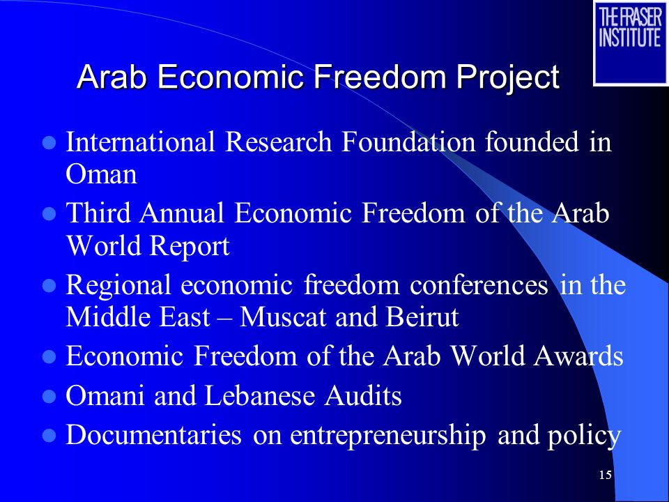15 Arab Economic Freedom Project International Research Foundation founded in Oman Third Annual Economic Freedom of the Arab World Report Regional economic freedom conferences in the Middle East – Muscat and Beirut Economic Freedom of the Arab World Awards Omani and Lebanese Audits Documentaries on entrepreneurship and policy