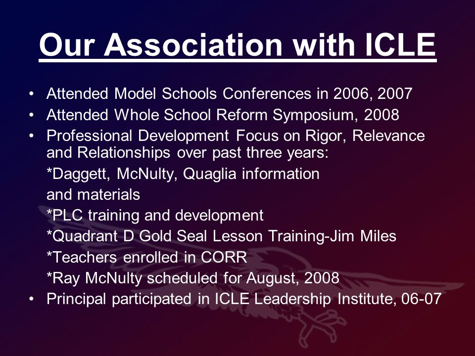 Our Association with ICLE Attended Model Schools Conferences in 2006, 2007 Attended Whole School Reform Symposium, 2008 Professional Development Focus on Rigor, Relevance and Relationships over past three years: *Daggett, McNulty, Quaglia information and materials *PLC training and development *Quadrant D Gold Seal Lesson Training-Jim Miles *Teachers enrolled in CORR *Ray McNulty scheduled for August, 2008 Principal participated in ICLE Leadership Institute, 06-07