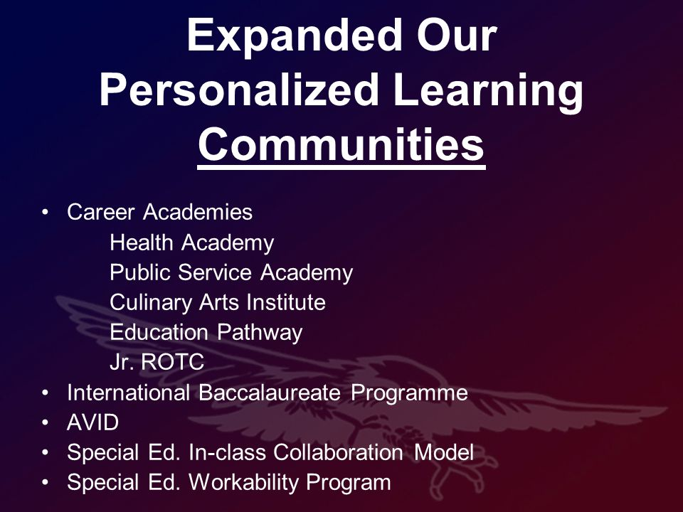 Expanded Our Personalized Learning Communities Career Academies Health Academy Public Service Academy Culinary Arts Institute Education Pathway Jr.