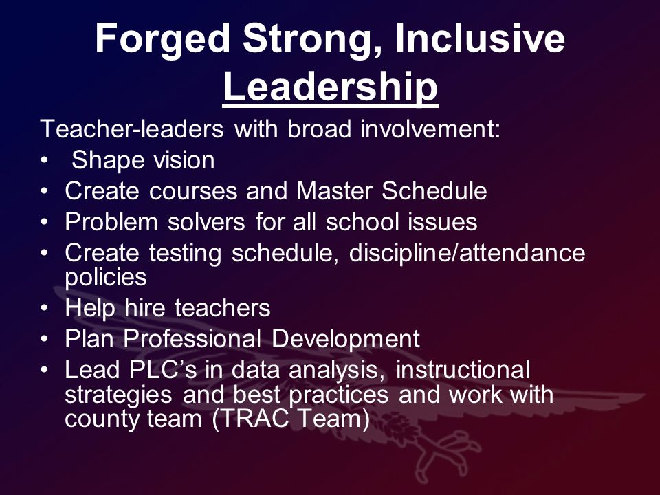 Forged Strong, Inclusive Leadership Teacher-leaders with broad involvement: Shape vision Create courses and Master Schedule Problem solvers for all school issues Create testing schedule, discipline/attendance policies Help hire teachers Plan Professional Development Lead PLCs in data analysis, instructional strategies and best practices and work with county team (TRAC Team)