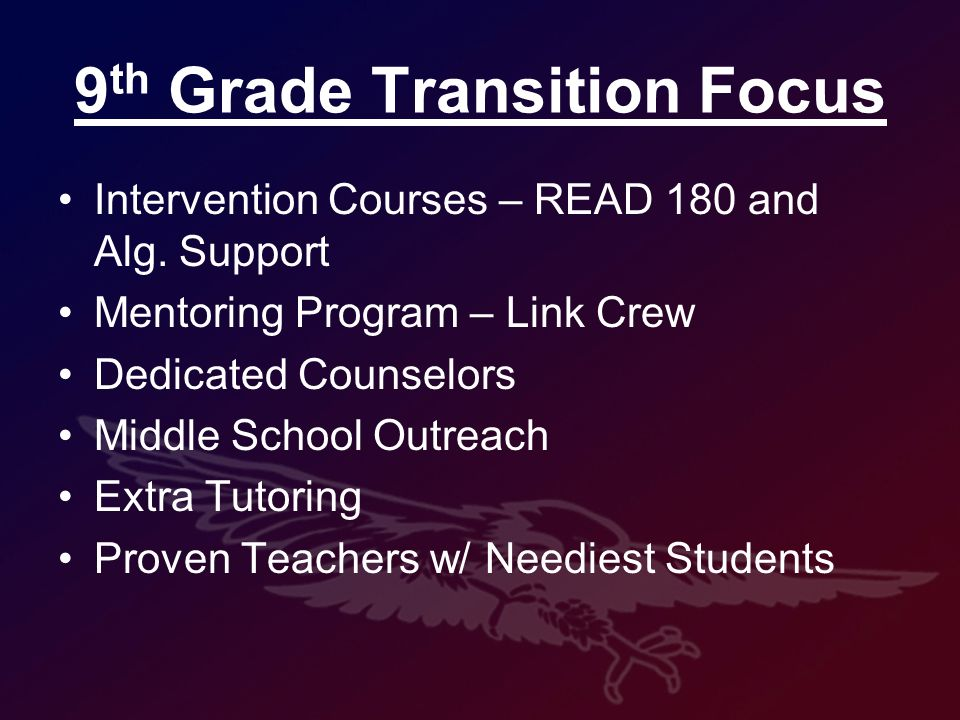 9 th Grade Transition Focus Intervention Courses – READ 180 and Alg.